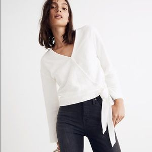 Madewell Texture & Thread Wrap Front Top in White